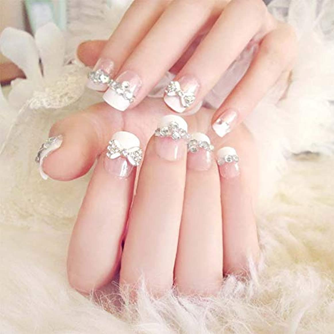 不要大統領家庭XUTXZKA 24個/セット偽の爪の結婚式の花嫁フルネイルのヒントミドルロング偽ネイル