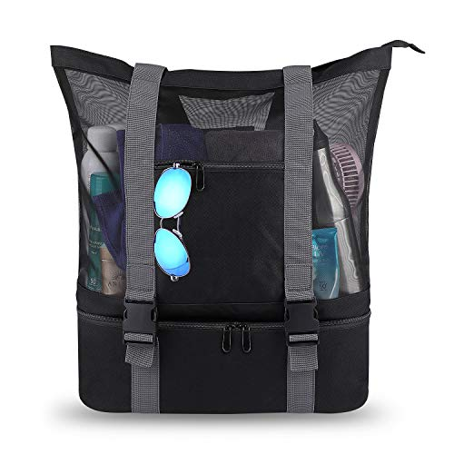 Beach Bags and Totes 32L+8L Mesh Beach Bag with Zipper and Detachable Cooler Bag