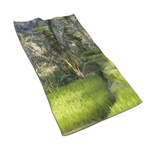 N/A Aquarel Print Art Print Schilderij Bad Handdoeken Katoen Handdoek Set Egyptische Katoen Handdoek Set ultra absorberende Reizen Sport Natuur Bomen Rijst Indonesië Bali 27.5 * 15.7in