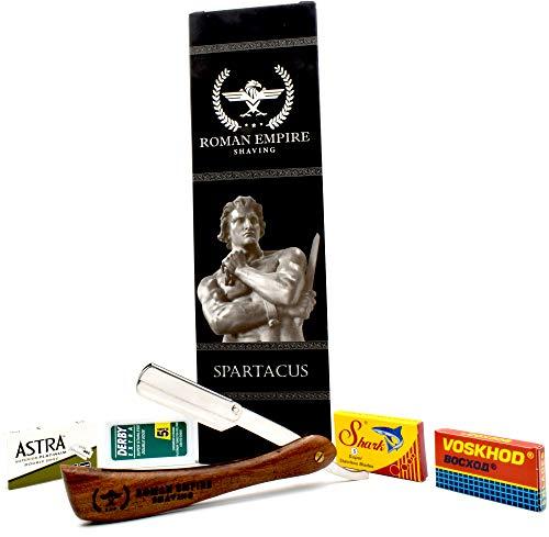 Rasoio a Mano Libera Spartacus di Roman Empire Shaving | Rasoio per Uomo Professionale da Barbiere per Barba, Baffi e Contorni con Set di 20 Lamette (Astra-Derby-Shark-Voskhod)