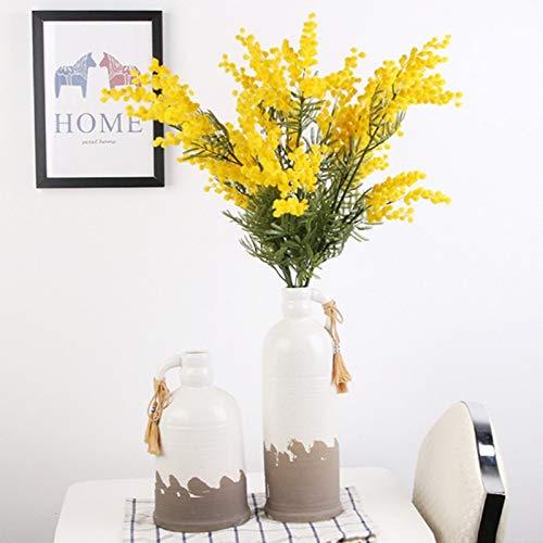 wwwl Künstliche Blumen 86cm 3 zweige Künstliche Acacia Gelb Mimose Spray gefälschte Seide Blume Hochzeit Party-Event Decor