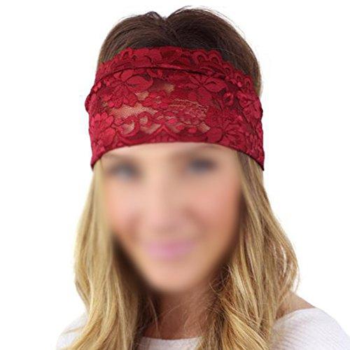Demarkt 1 Pcs Femme Bande de Cheveux Bohême Retro Dentelle Large Fleurs Headband Rayure Elastique Extensible Hairband Twisted pour Fille Sport Jogging Yoga Maquillage Accessoire Rouge Foncé