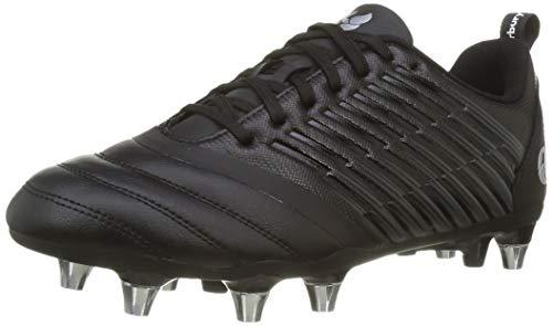 Canterbury Stampede 3.0 Soft Ground, Zapatillas para Rugby Hombre, Negro/Gris Oscuro/Plata Claro, 45 EU