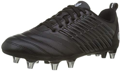 Canterbury Men's Stampede 3.0 Soft Ground Rugby Shoe, Black/Dark Grey/Light Silver, 11 UK