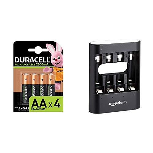 Duracell Rechargeable AA 2500 mAh Prericaricate, Batterie Stilo Ricaricabili 2500 mAh, Confezione da 4 & Amazon Basics - Caricabatterie USB rapido, nero