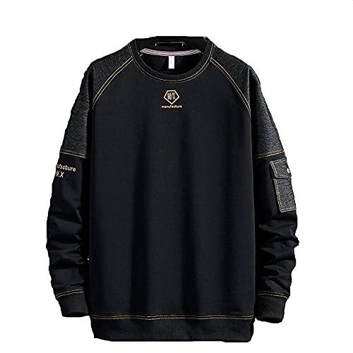 Tbylf Jersey de cuello redondo para hombre, suelto, camisa grande de hombre, manga larga, jersey para hombre, Negro , XXL