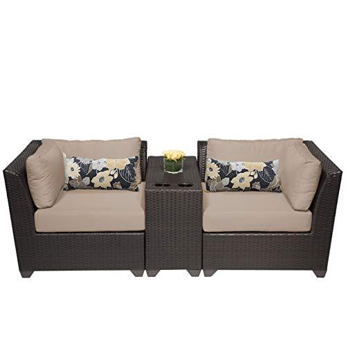 TK Classics 3 Piece Barbados Outdoor Wicker Patio Furniture Set, Wheat 03b
