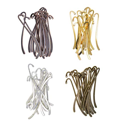 Baosity 80 Pieces Lots 4 Colors Metal Bookmarks Flat Hook Book Mark Charms Pendants Beading Jewelry Making Accessories Craft Supplies for Crafting 87mm x 14mm