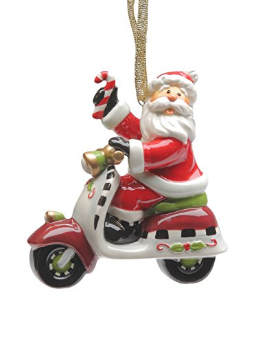 Cosmos Gifts 10647 Santa Riding Scooter Ornament, 3-1/2-Inch
