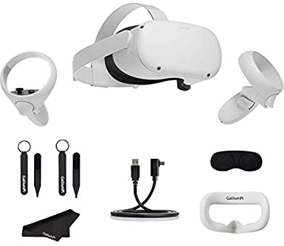 Oculus Quest 2 All-in-One VR Headset 256GB - Advanced Virtual Reality Gaming Headset with GalliumPi Link Cable + Interfacial Cover + Knuckle Strap + Lens Cover + Cleaning Cloth Accessories Bundle