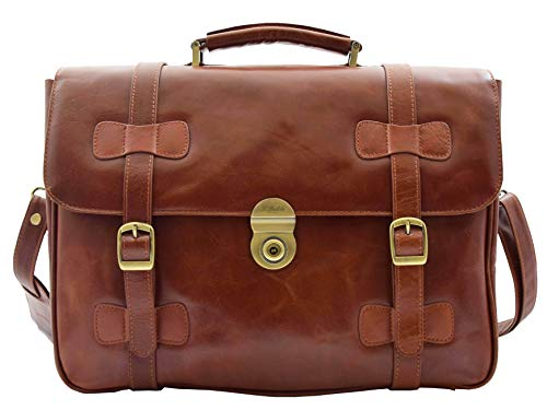 Mens Leather Briefcase Cognac Vintage Classic Office Bag Messenger Laptop Case - Matteo