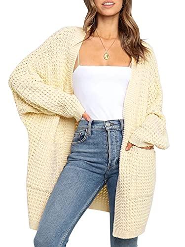 ASPOL Las mujeres de manga larga abierta frente de punto chaqueta de punto de color sólido Pocketed Slouchy suéter Outwear, beige, S