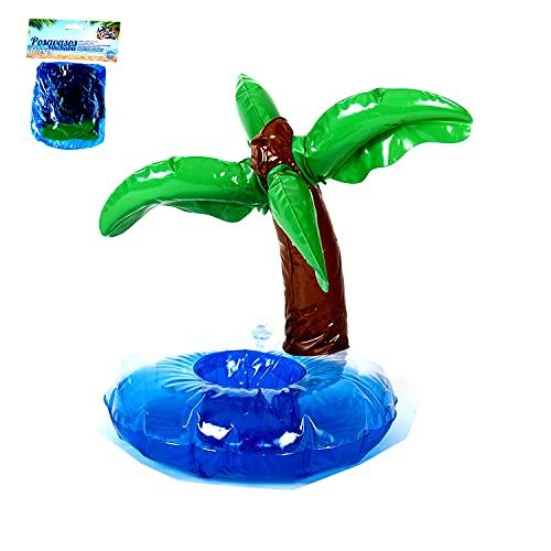 LA RUTA 12 Piezas Flotador Inflable Posavasos Palmera para Bebidas en Piscina + Inflador Portátil, Flotante Taza Soporte para Fiesta de Piscina Playa Mini Juguetes Hinchables (886833)