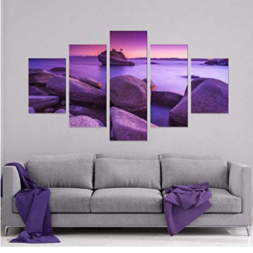 Preisvergleich Produktbild wuyyii 5 Stücke Hd Print Malerei Lila Himmel Stein Landschaft Modulare Für Moderne Dekorative Schlafzimmer Wohnzimmer Home Wandkunst Dekor-30X40Cmx2 / 30X60Cmx2 / 30X80Cmx1
