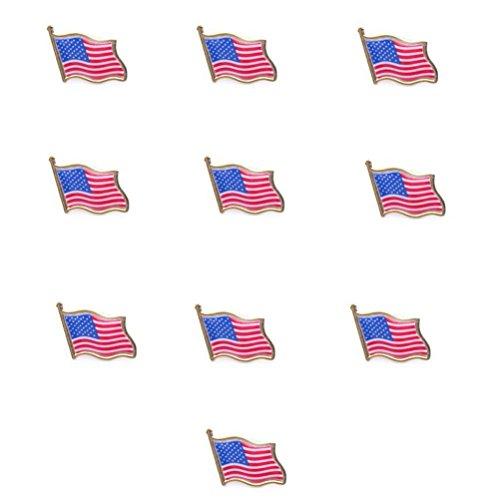 UEETEK 10PCS amerikanische Flagge winken Pins USA USA Hut Tie Tack Abzeichen Anstecknadel