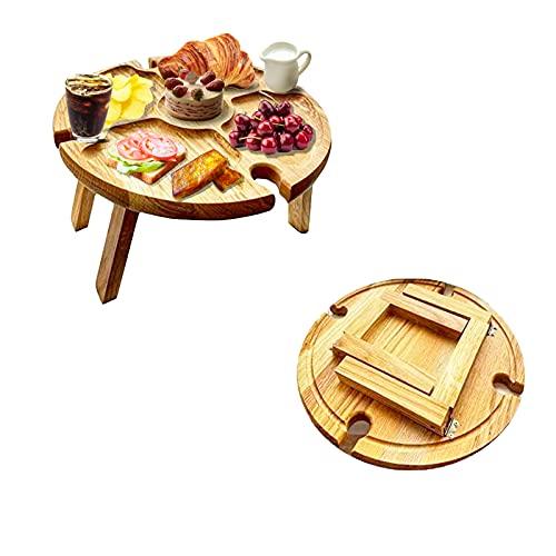Tragbarer Zusammenklappbarer Tisch,Weinpicknicktisch aus Holz Im Freien,Klappbarer Picknicktisch aus Holz mit Weinglashalter,Tragbarer Klappbarer Weintisch Am Strand