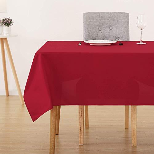 Deconovo Tischdecke Wasserabweisend Tischwäsche Lotuseffekt Tischtuch 130x220 cm Rot