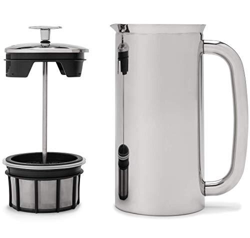 Espro French Press P7, Kaffee Stempelkanne mit Thermofunktion, Coffee-Maker, Kaffeezubereiter, 0,55 Liter, Hochglanz, Edestahl, Edelstahl poliert