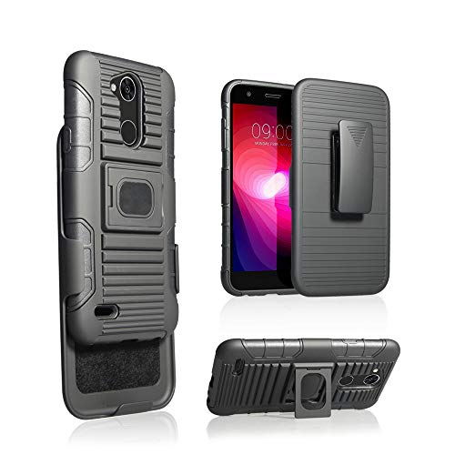 Lg X Power 3 Case, Mount, Clip, Ring Grip Case Cover + Belt Clip Holster Stand + Magnetic Car Mount (Black)