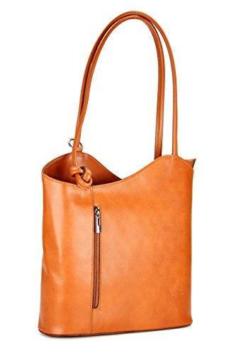 Belli Italian Handbag Women Shoulder Bag Backpack 2in1 Very Fine Genuine Leather Cognac Brown - 28x28x8 cm (W x H x D)