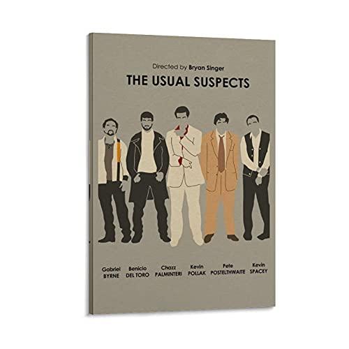 Póster de The Usual Suspects con 6 misterios, película de suspenso, pintura decorativa para la habitación, decoración de pared, marco estético sin marco, 30 x 45 cm