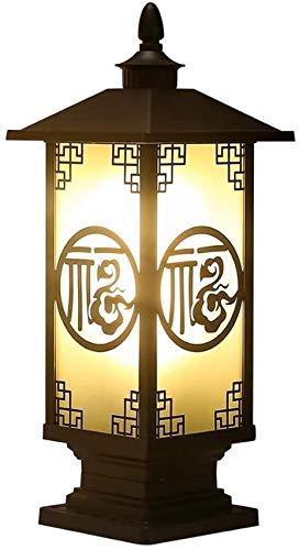 ZFB8B Lámparas de Pared E27 Luz de Poste de Estilo Chino, Pilar Exterior ANTERN con China FU, Cloquillo Villa Classic Cerca Impermeable Aluminio Luz de Aluminio Lámpara de Columna S8YU18