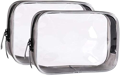 FIF 2Pcs Travel Clear Toiletry Bag for Men & Women, Airport Security Liquids Bag Makeup Organiser for Mens。,2pcs-black