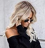 VEBONNY Synthetisch Blondes Haar Braun Wurzeln Lace Front Perücke 18 inch VEBONNY-031-18