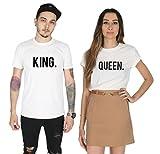Sanfran King & Queen - Camiseta a juego para el día de San Valentín Blanco blanco rey-M & regina-XL
