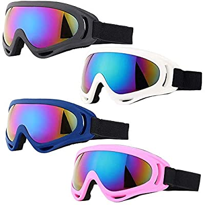 Peicees 4 Pack Winter Ski Goggles with UV400 Protection Adjustable Motorcycle Snow Goggles Tactical Glasses Windproof Sunglasses for Kids Boys Girls Youth (Black+White+Blue+Pink Frame/Colorful Lens)