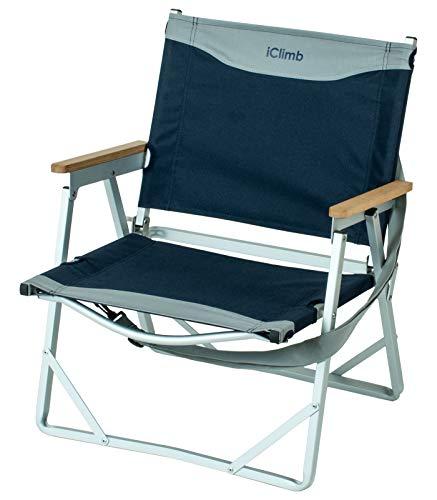 iClimb アウトドア 椅子 超軽量 ローチェア 携帯ハンドル ショルダー付き ビーチ 庭園 キャンプ 折り畳み 耐荷重120kg 肘掛け天然木
