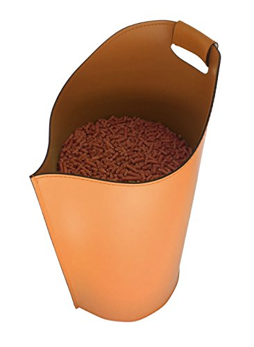 SAPEL: Pellet Behälter aus Leder Farbe Braun, Pellet Korb, Pellet-Box, Exlusivdesign design Firestyle®, Made in Italy.