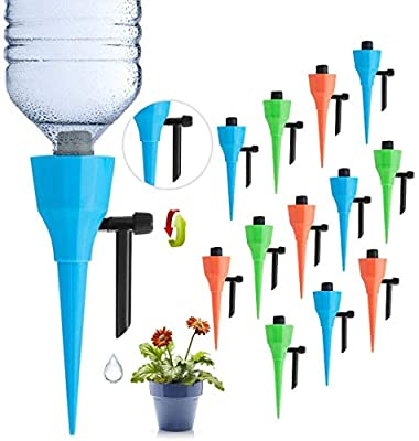 LAVIZO ?New Upgrade? Plant Self Watering Spikes Devices, Automatic Irrigation Equipment Plant Waterer with Slow Release Control Valve, Plant Self-Watering Device Suitable for All Bottles -12 Pack by LAVIZO