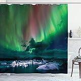 ABAKUHAUS Nordlicht Duschvorhang, Outdoor-Landschaft, Trendiger Druck Stoff mit 12 Ringen Farbfest Bakterie & Wasser Abweichent, 175x180 cm, Mehrfarbig