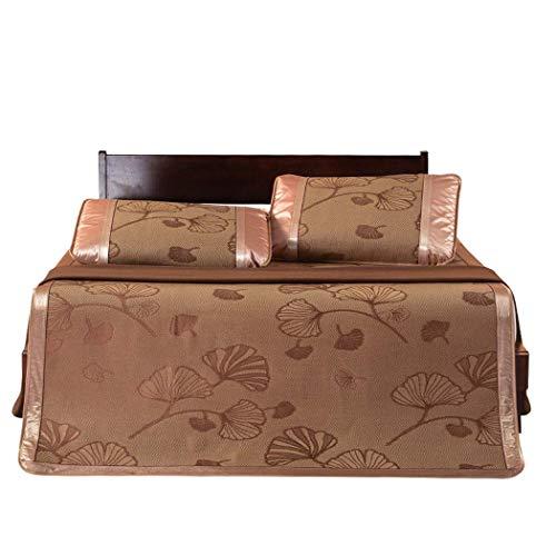 Tre Serie Di Stuoie e Rattan Sedili Ghiaccio Seta Sedili Pieghevole Singolo Dormitorio Doppio Mats (Colore: Roman Grid1.5M Bed) / Gold Leaf Coffee 0.9m Bed