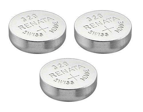 3 x Renata 329 Uhrenbatterie, Swiss Made, Silberoxid, 1,5 V, auch = SR731SW, V329, D329, GP329, 329