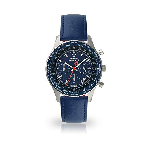DETOMASO Firenze Herren-Armbanduhr Chronograph Analog Quarz blaues Lederarmband blaues Zifferblatt SL1624C-BL-659
