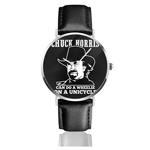 Unisex Business Casual Chuck Norris Puede Hacer caballitos en un Monociclo Relojes Reloj de Cuero de Cuarzo