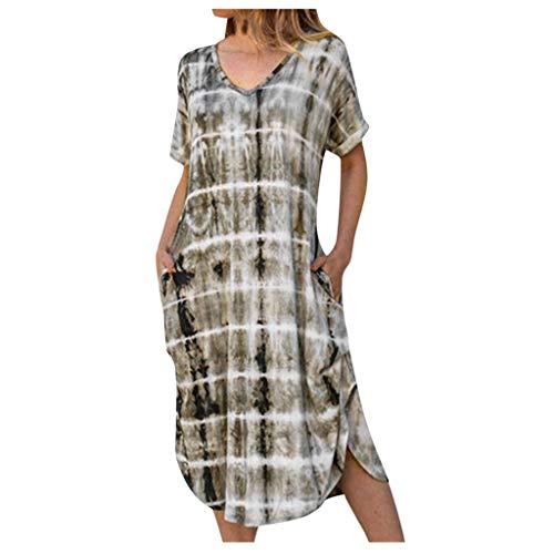 Janly Clearance Sale Vestidos para mujer, verano, manga corta, cuello en V, estampado degradado, vestido casual suelto, vestido de playa, vestido de manga corta, para invitadas de boda (gris-XL)