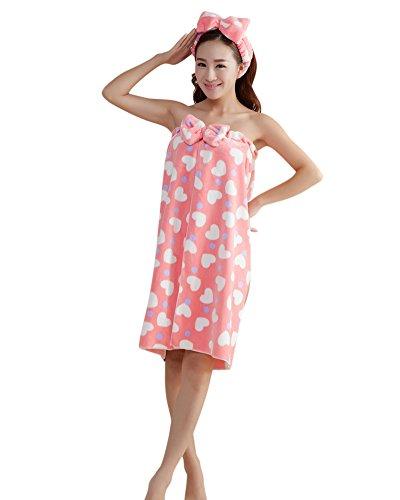 ZiXing Juego de toalla de bow para mujer, albornoz de baño