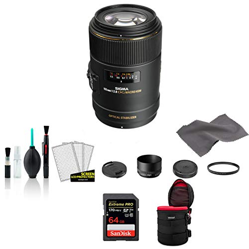 Sigma 105mm f/2.8 EX DG OS HSM Macro Lens for Nikon F with Lens Pouch