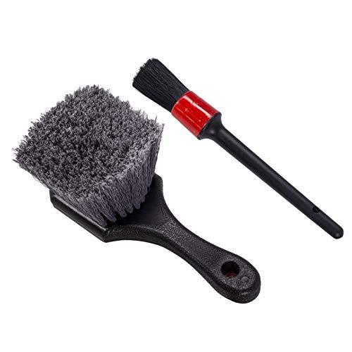 TISHITA 2 Piezas Multi-propósito de Coche Cepillo de Detalle de Rueda y Cepillo de neumáticos Mango de plástico vehículo Auto para Limpiar Cepillo Set Libre