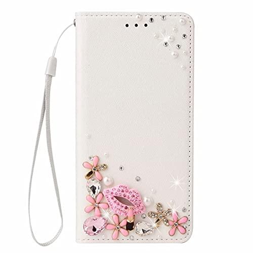 Nadoli Leder Handyhülle mit Diamant für Samsung Galaxy S20 Plus,3D Handgearbeitet Rosa Blumen Lippe Seide Muster Glänzend Bling Lanyard Schutzhülle Brieftasche Etui