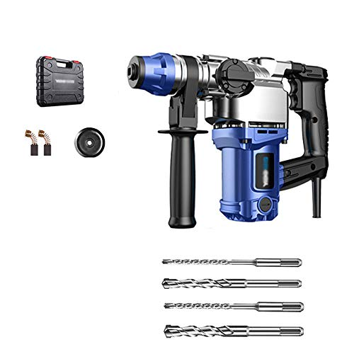 JDH Handheld Impact Drill, Multifunction Electric Hammer Drill Pick 3 in 1, Automatic Safety Clutch Copper Motor, with Dust Cover Carbon Brush 4 Drill Bits Tool Bag