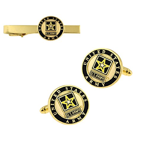 PinMart Gold Plated US Army Logo Tie Clip and Cufflink Military 2 Piece Bundle