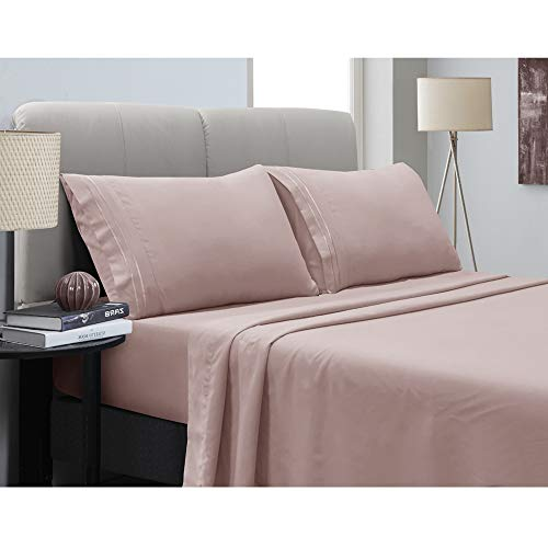 Mejoroom Bed Sheets Set - Soft Microfiber Bed Sheets,14-inch Deep Pockets,Copper ion Element,Wrinkle,Fade,Stain Resistant,Hypoallergenic - 4 Piece(Queen,Dusty Pink)