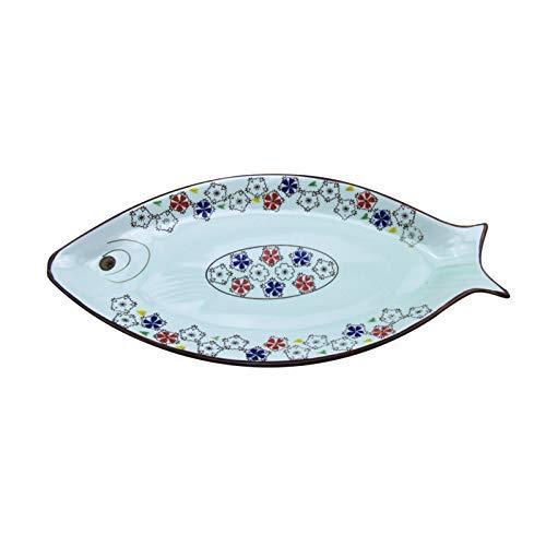 XUSHEN-HU Plato de cerámica de 13/16 pulgadas Underglaze Color esmaltado pintado a mano japonés y coreano de cerámica perla de pescado plato especial anual de ciruela, 40 cm vintage