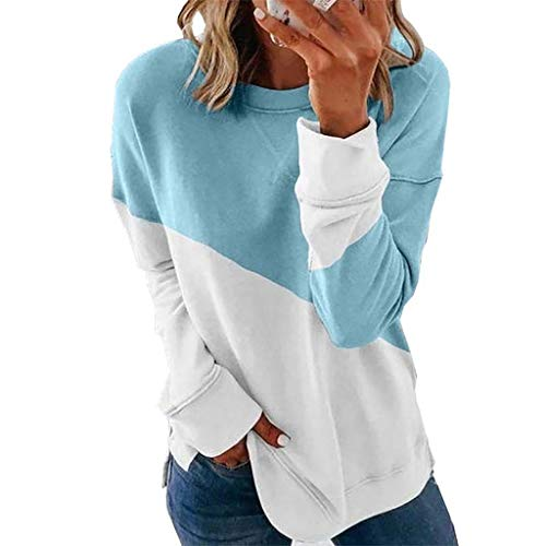 EuCoo Woman's Casual Stitching Contrast Color Long Sleeve Blouse Pullover Tops T-Shirt(Light blue,3X-Large)