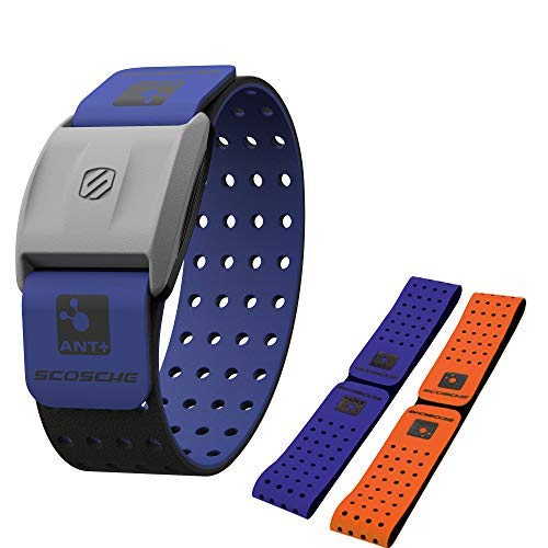 Scosche Rhythm+ Heart Rate Monitor Armband- Optical Heart Rate Armband Monitor with Dual Band Radio ANT+ and Bluetooth Smart - Bonus Pack Includes Additional Free Armband (Blue)