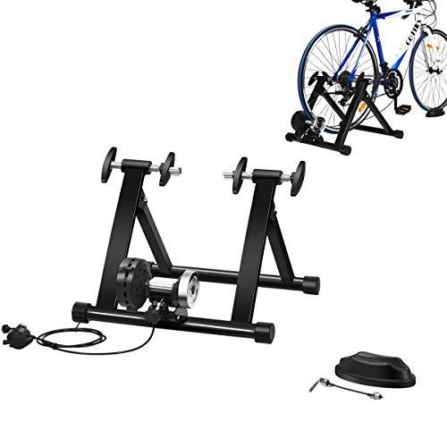 COSTWAY Rollentrainer mit Vorderradstütze und Schaltung mit 8 Gängen, Fahrrad Heimtrainer klappbar, Cycletrainer bis 100KG belastbar, Fahrradtrainer 26-28 Zoll Fahrrad, schwarz